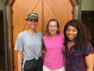 Reagin Turner (left) and Alliyah Harris (right) with Tina Pippin (middle)